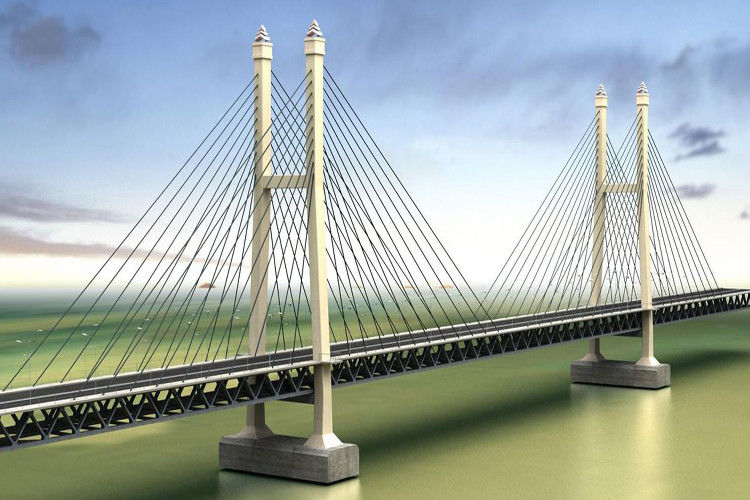 Steel Truss Cable Stay Bridges Suspension With High Strength